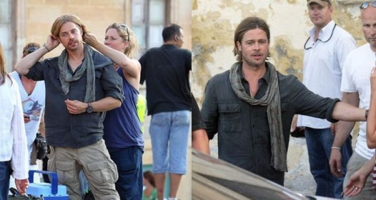 Brad Pitt and his stunt double